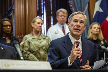 Gov. Greg Abbott declares a statewide emergency amid new cases of COVID-19 in the state on March 13, 2020 at the state capitol.