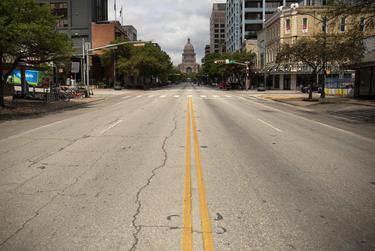 The streets in downtown Austin are mostly empty during the coronavirus pandemic.