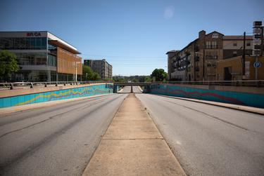 North Lamar Boulevard in Austin is empty during the COVID-19 pandemic.