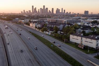 A freeway in Houston is almost empty during the coronavirus pandemic.