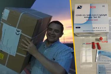 In a video posted on social media, U.S. Rep. Henry Cuellar, D-Laredo, carries boxes of coronavirus tests (pictured at right) after they arrived from China.