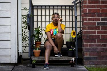 Houston resident Montoya Thomas, 23, was recently let go from her bartending job and is taking online classes at Lone Star College. She is trying to navigate her new normal during the coronavirus pandemic.