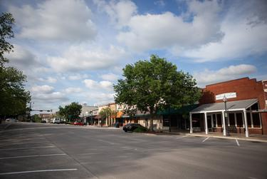 A quiet downtown San Marcos during the coronavirus pandemic.