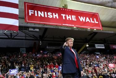 U.S. President Donald Trump speaks during a campaign rally at El Paso County Coliseum in 2019.