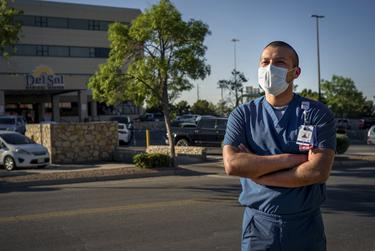 Josue Tuyub, 35, an intensive care unit nurse and DACA recipient, works at Del Sol Medical Center where he treats coronavirus patients in El Paso on April 28, 2020.