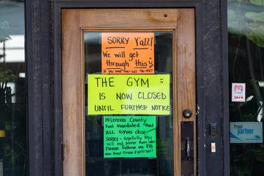 A gym in downtown Mcgregor is closed during the coronavirus pandemic.