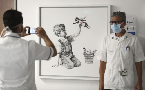 Banksy Drops Off Superhero Nurse Artwork at Hospital in UK With a Thank You Note